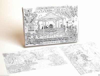 Adult Colouring Book Stress Relief Realxation Art Therapy Colour Calming Garden
