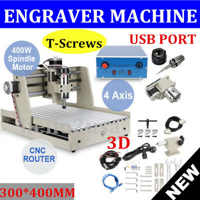 USB Port! 4AXIS cnc 3040 router engraver engraving machine desktop 3040 400W 3D