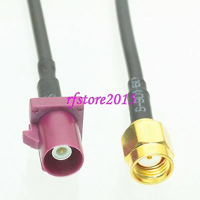 Cable RG174 6inch Fakra SMB D 4004 male plug to RP-SMA male RF Pigtail Jumper