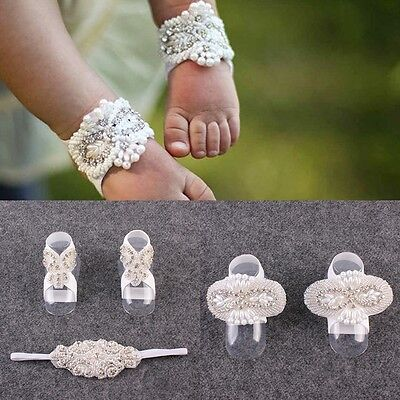 3pc Girls Baby Flower Barefoot Sandals Shoes Fake Crystal Hair Band Foot Band