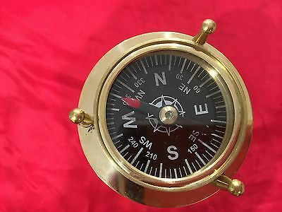 Antique Brass Liquid Sand Timer With Both Side Compass