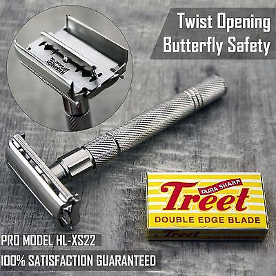 Haryali London Double Edge Safety Razor - Twist To Open Butterfly Design+Blades