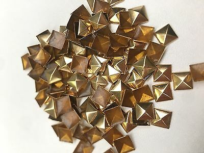 100 x 9mm Gold hotfix pyramid spike studs, Stick on, Iron On