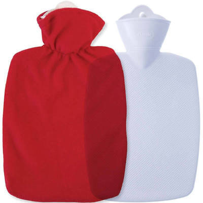 Hugo Frosch Hot Water Bottle With Soft Fleece Cover Red 1.8L