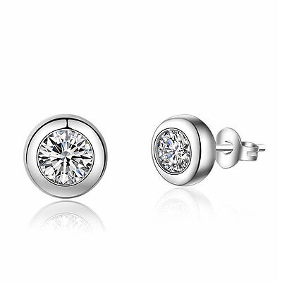 Women 925 Sterling Silver Jewelry Elegant Crystal Ear Stud Earrings Lady Round