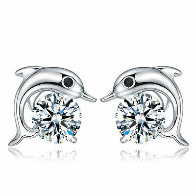 Women 925 Sterling Silver Jewelry Elegant Crystal Ear Stud Earrings Cute Dolphin