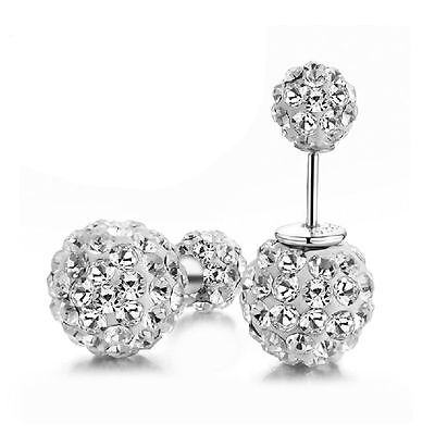 Women Jewelry Ball Lady Elegant Crystal 925 Sterling Silver Ear Stud Earrings