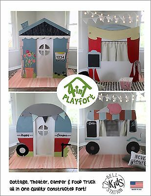 4 in 1 Playfort - Cottage, Camper, Food Truck, Puppet Theater