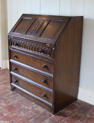 Beautiful Carved Oak Bureau Writing Desk Chest Of Drawers **DELIVERY**