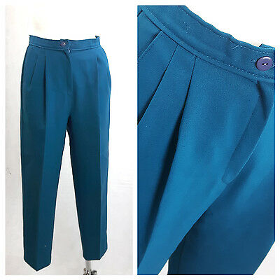 Vintage 80's Women Trousers Hight Waist Teal Blue Pleated Front UK14 EU42