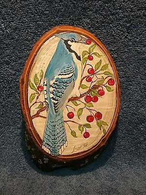 Hand painted Blue Jay on Oblong Wooden Plaque