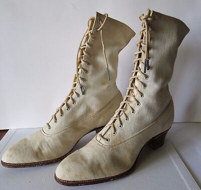 VTG 1800's Boot WEDDING SHOES~White~Leather bottoms~ High Top Lace Up