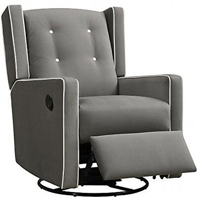 Glider Chair Baby Infant Nursery Furniture Swivel Gliding Recliner Gray Relax
