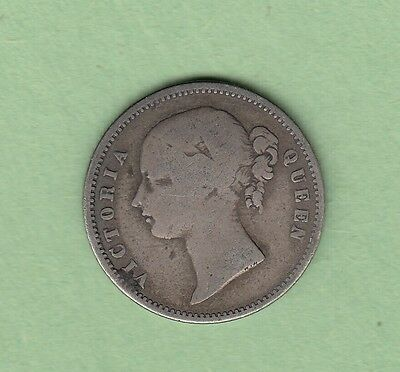 1840 India 1/2 Rupee Silver Coin - Queen Victoria - VG