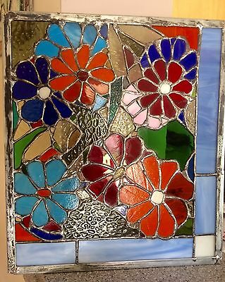 "Sale 💥Stained Glass  Sunflower Easter Suncatcher Transom Window Panel   15""x13"""