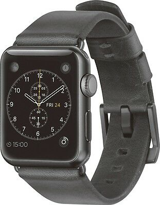 Nomad - Leather Watch Strap for Apple Watch 38mm - Slate Gray w/ Black Hardware