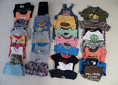 Huge 27 PC Lot of Toddler Boys Clothes, Pants, Shorts, Shirts, Size 2T 24 Months