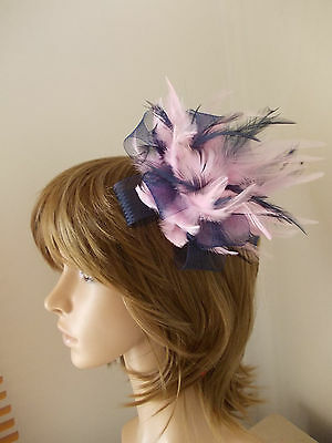 New Navy Blue and Light Pink Looped fascinator feathers hair clip & brooch clip