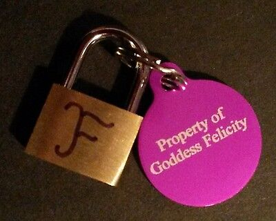 Keyholding Chastity Domination Fantasy Service - Marked Brass Padlock And Dogtag