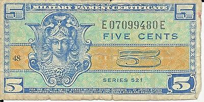 MPC 1954 - 1958 Military Payment Certificate (MPC) 5 Cents Series 521