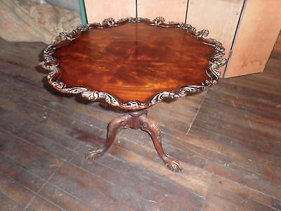 Carved Piecrust Table,Intricately Carved Pastry Table,Ornate Pedestal Table 101A
