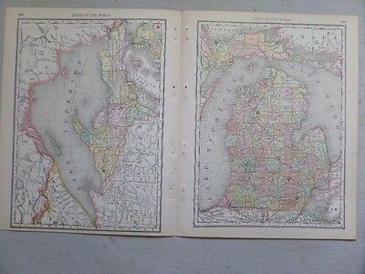 1889 Map of Michigan with Wisconsin on the Reverse