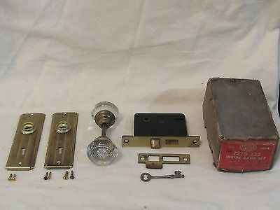 Antique CORBIN Glass Door Knob Lockset Skeleton Key - NOS with Original Box