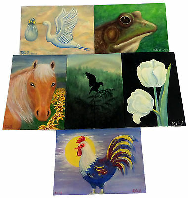 Lot 6 Small Original Nature Paintings Rita Zelisko Acrylic on Canvas Boards