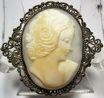 Stunning Silver Filigree Wire carved Shell Cameo Brooch pin