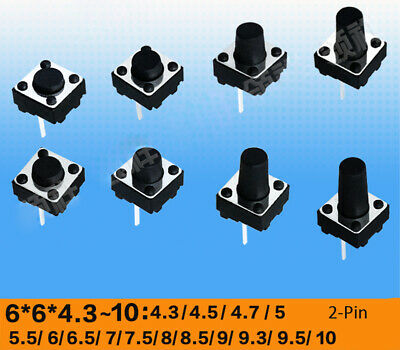 6x6x4.3 to 12mm DIP Momentary Push Button Tactile Switch Micro PCB Mounted 2-Pin
