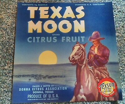 Texas Moon Citrus Crate Label Donna 1940 Smoking Cowboy Horse Vintage Western