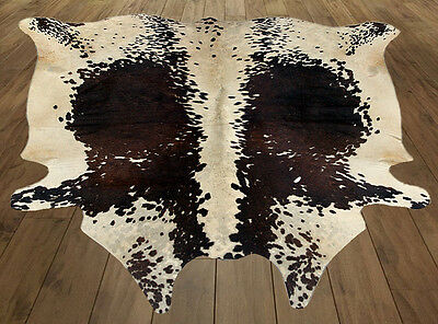 "New cowhide hairon rug Area Natural cow skin leather hide(45""x43""= 13 SF) T15"