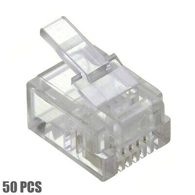 50 Pack RJ11 Modular Plugs 6P4C Crimp On Solid Wire Connector Telephone Phone