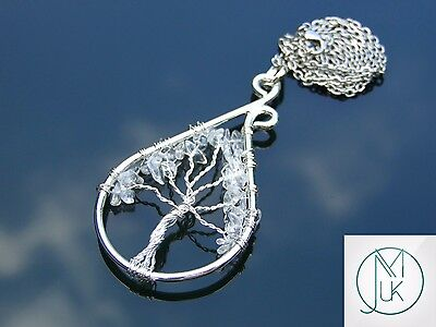 Handmade Rock Crystal Tree of Life Natural Gemstone Pendant Necklace 50cm