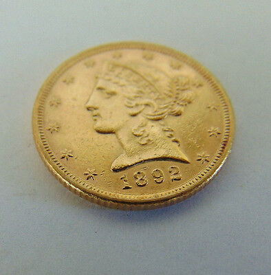 1892 5 Dollar Liberty Gold Coin In About Uncirculated Condition
