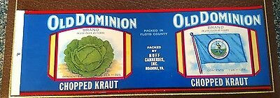 OLD DOMINION CHOPPED KRAUT TIN CAN LABEL 1930's HUFF CANNERIES ROANOKE VIRGINIA