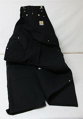 Carhartt Men's R02 Duck Bib Overall / Quilt Lined Size 42x32 Black READ AD!