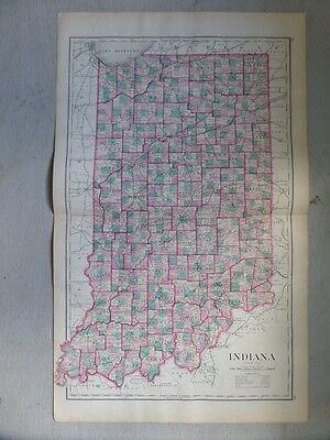 Antique 1874 Map of Indiana