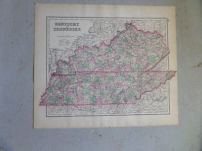 Antique 1874 Map of Kentucky & Tennessee with Arkansas on the reverse