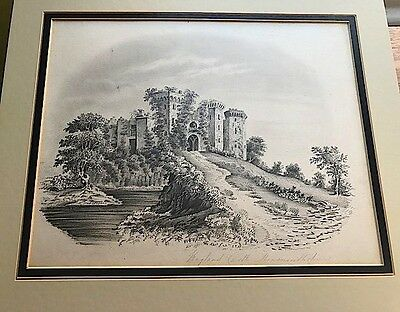 Antique original pencil drawing of a castle. Fine detail and condition.