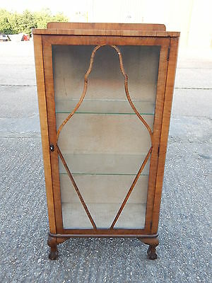 Antique Edwardian glazed china display cabinet with glass front sides shelves