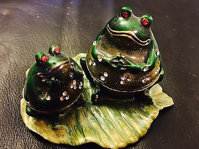 Frog Jewelry Trinket Box Bejeweled Green Gold Toad Decorative Collectible