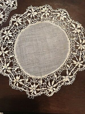 Antique Coasters Set Of 7 Linen With Blonde Silk Bobbin Lace