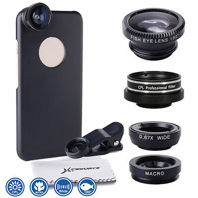 "Xcsource 5in1 Lens Cover Black Kit Fisheye Slim Case per iPhone 6 4.7"" DC549"
