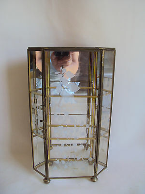 Vintage Brass Glass Mirror Footed Curio Cabinet