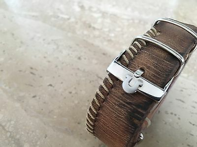Handmade Supreme 1972er Nato Leather Strap 20mm with Omega Speedmaster Buckle