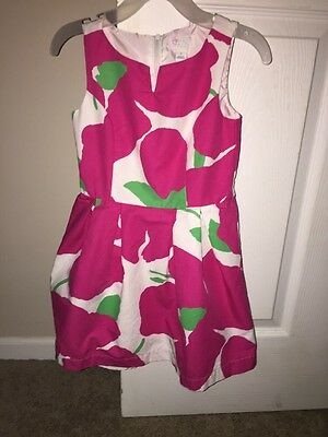 Girls Size 5 Pink And Green Floral Spring Summer Dress -EUC