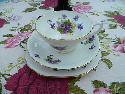 Lovely Vintage Stanley English China Trio Tea Cup Saucer Plate Violets