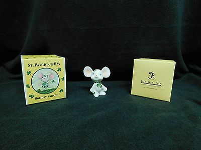Fenton  Art Glass  St. Patricks Day White Mouse In Box