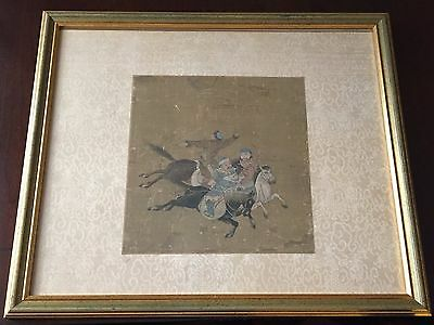 Antique Framed Chinese Watercolor Painting Yuan Dynasty Hunting Scene on Silk